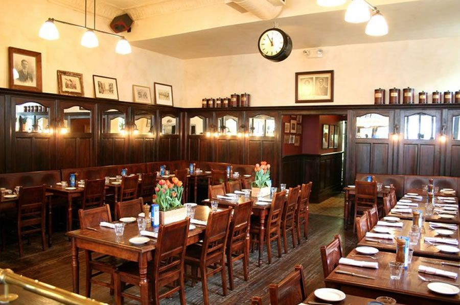 Markt NYC Bistro Restaurant Interior Design With Antique Bar Furniture