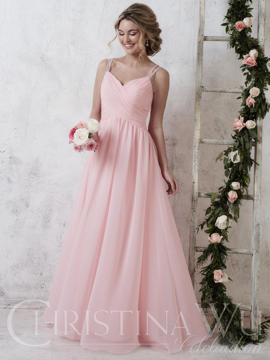 Long chiffon dual beaded straps light pink bridesmaid dress wedding dress ombrellifo Image collections