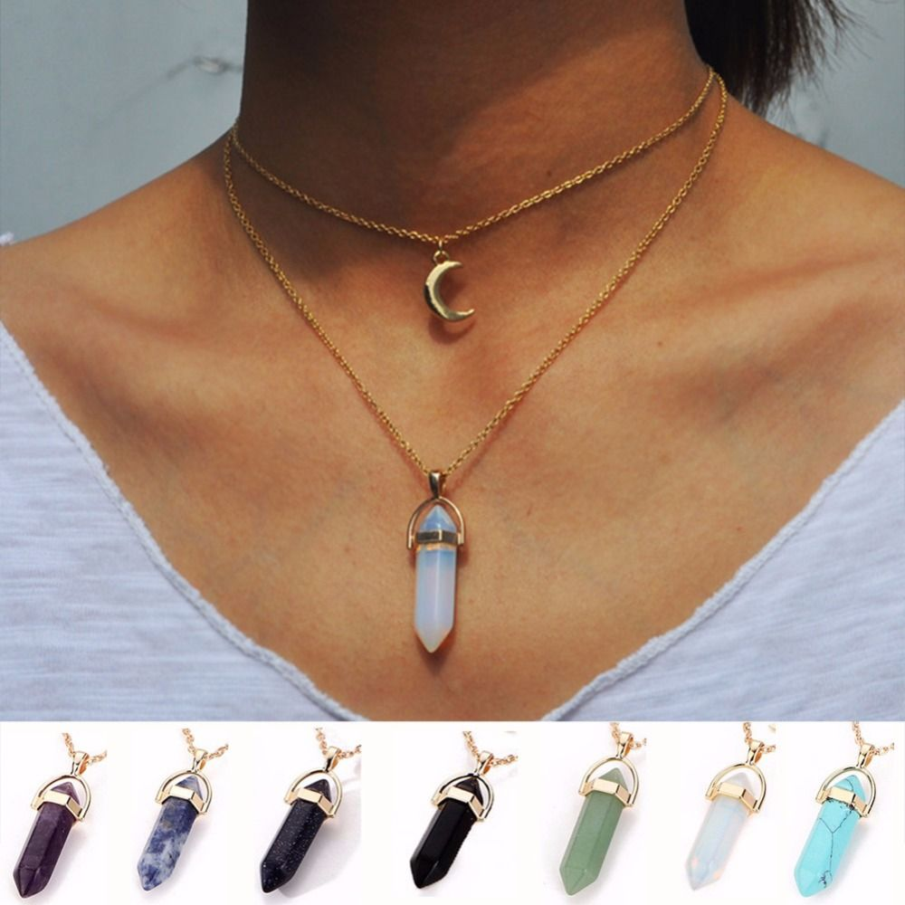 db9c68c63f65a Crystal Opals Natural Stone Quartz Double Chokers Necklace erw ...