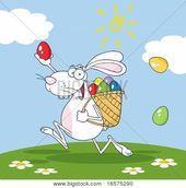 White Bunny Participating In An Easter Egg Hunt poster