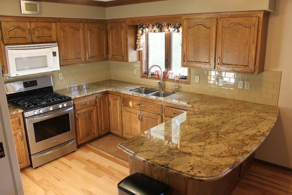 Khaki Glass Subway Tile | Granite countertops kitchen ...