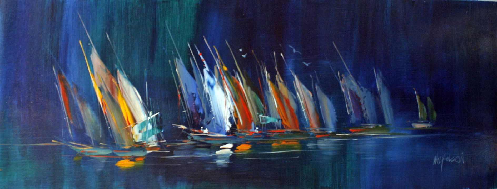 Abstract sailing boats original oil painting canvas 16