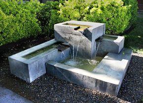 fontaine de jardin moderne en bton coul 3 cascades - Fontaine De Jardin Moderne