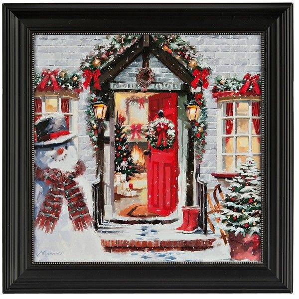 Open Door Christmas Framed Art Print (€28) ❤ liked on Polyvore featuring home, home decor, wall art, glass wall art, christmas home decor, door wall art, glass home decor and framed wall art