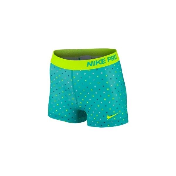 Nike Women's 3 Pro Core Polka Square Compression Shorts ($24) ❤ liked on Polyvore featuring activewear, activewear shorts, nike sportswear, nike activewear and nike