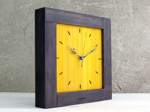 Large Wall Clock, Yellow Wall Clock, Square Clock, Wooden Wall Clock,  Minimalist Clock, Big Wood Clock, Modern Wall Clock, Wood Clock