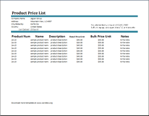 Price List Inventory Template At HttpWwwXltemplatesOrgPrice