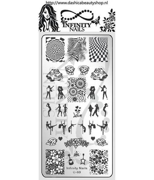 Infinity Nails Image Plate 69 stamping plate full cars dance pole ...