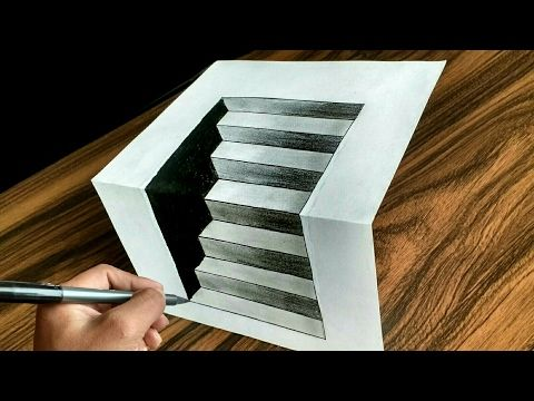 How To Draw 3d Steps In A Hole Line Paper Trick Art Youtube Optical Illusions Art Optical Illusion Stairs Optical Illusion Drawing