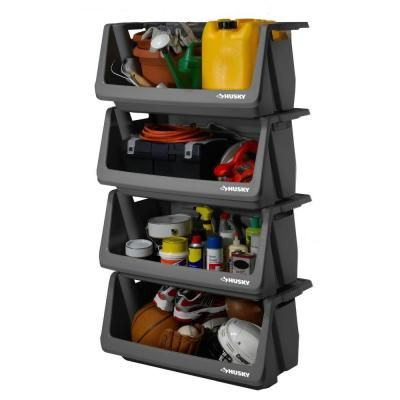 husky stackable storage bin at the home depot tablet
