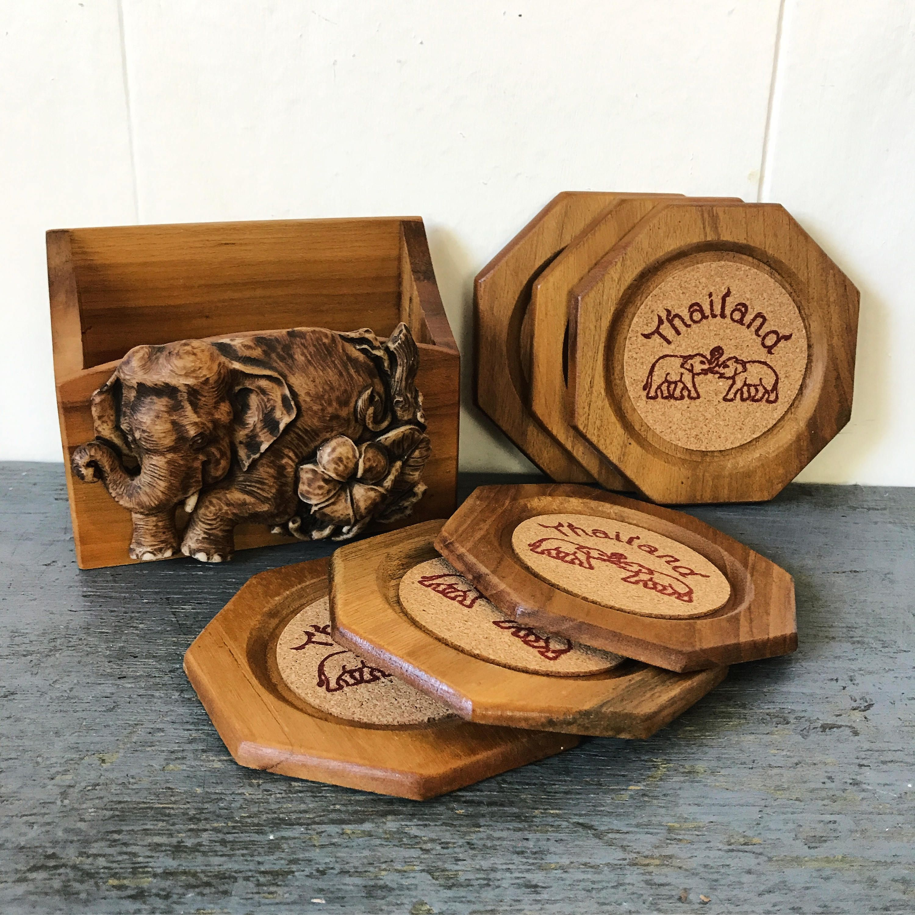 Vintage Wooden Coaster Set  Cork Elephant Coasters  Thailand