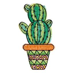 Photo of Hand drawn colorful multiple cactus pot