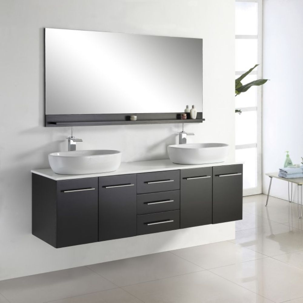 Wall Mounted Bathroom Vanity Double Sink Bathroom Cabinet Badezimmer Schrank Und Baden