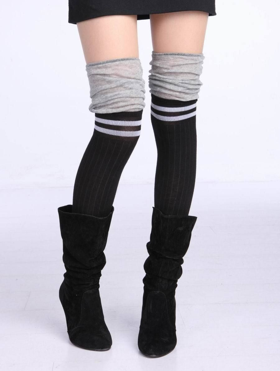 free shipping,Fashion step feet trample ankle sock over the knee ...