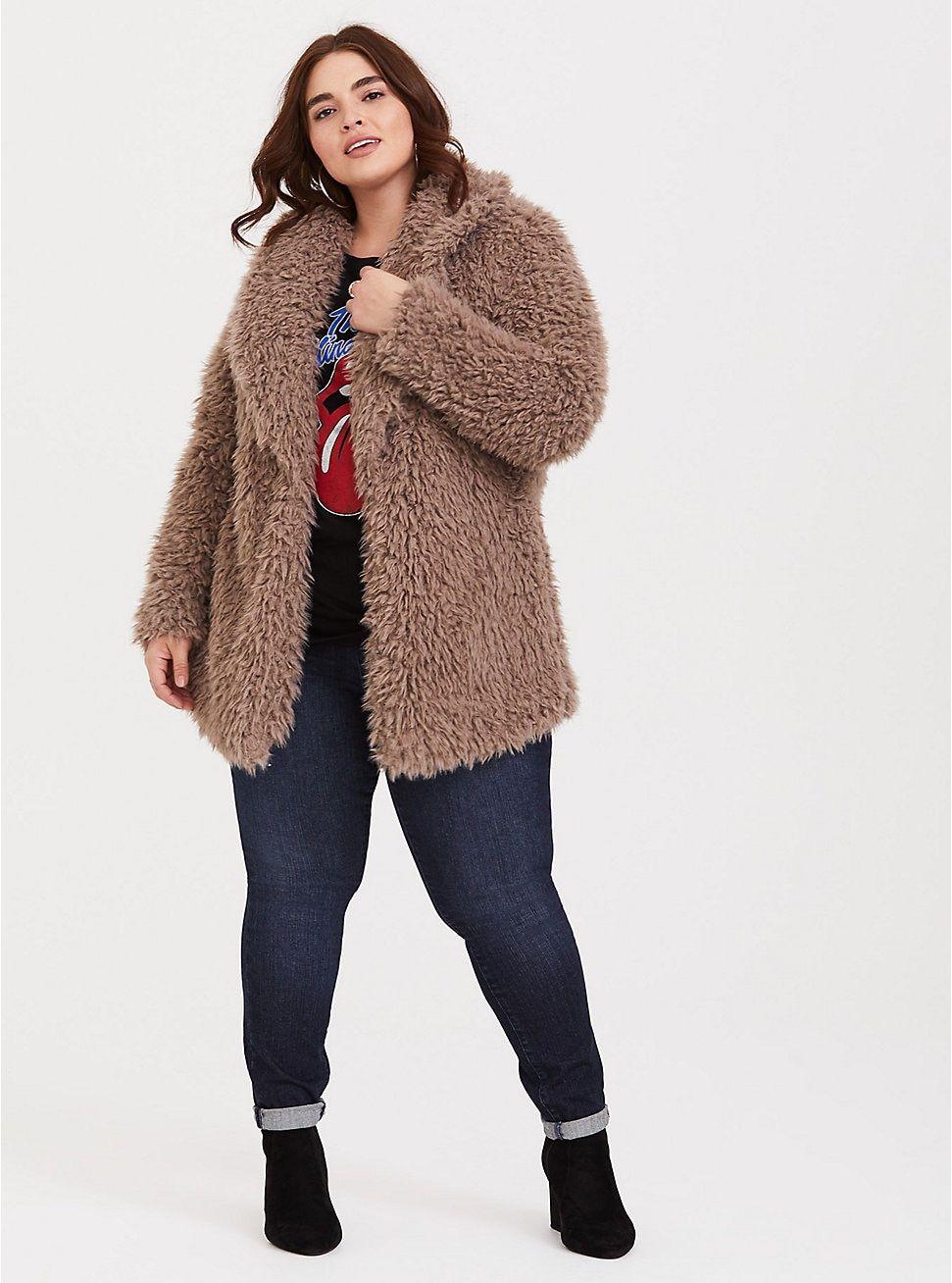 Brown Drapey Sherpa Jacket Sherpa Jacket Plus Size Coats Jackets [ 1308 x 971 Pixel ]