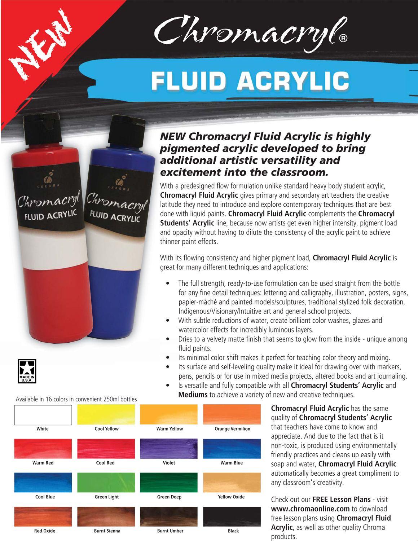 Chromacryl Fluid Acrylics Color Chart Fluid Acrylics Color Chart Acrylic Colors