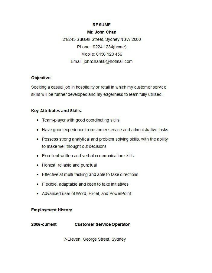 7 Eleven Resume Examples Resume Objective Pinterest Resume - resume objective for customer service
