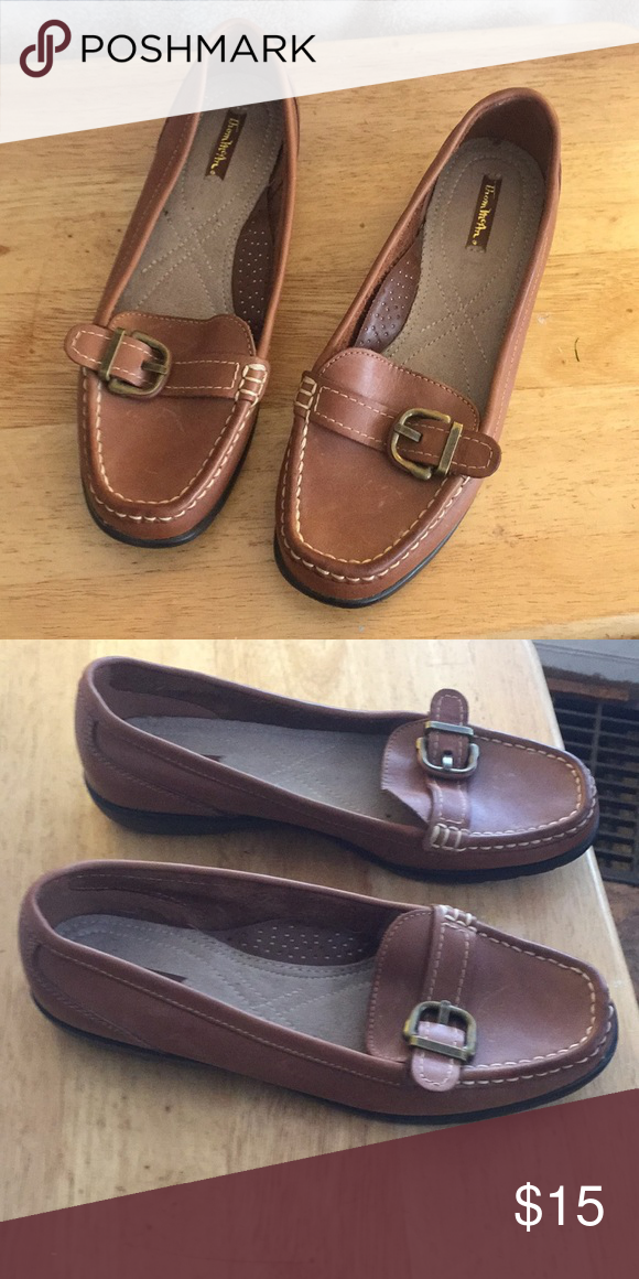 eb65a9add5f Thom McAn Women s leather loafers. Size 8 1 2 W Women s brown leather  loafers with leather strap and buckel. Tom McAn Shoes Flats   Loafers