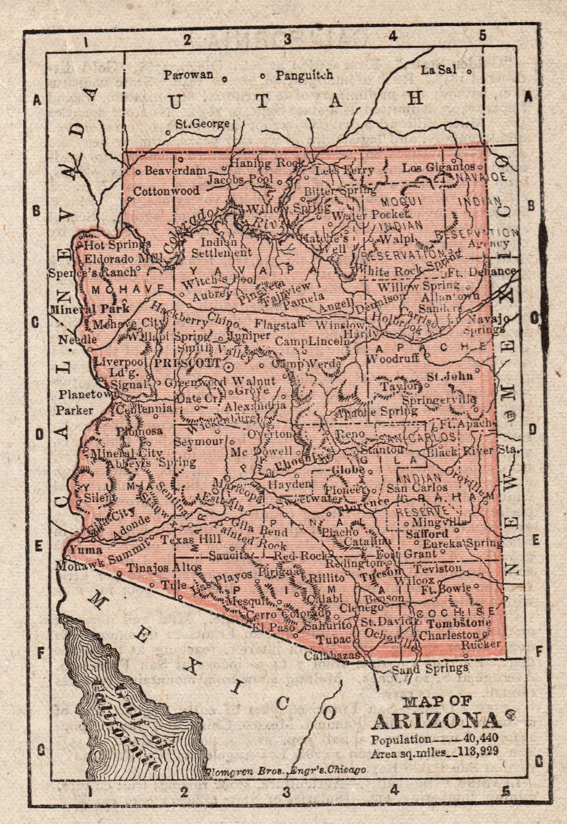 1888 Antique Arizona State Map Rare Miniature Size Arizona Map Etsy Arizona Map Miniature Map Arizona State Map