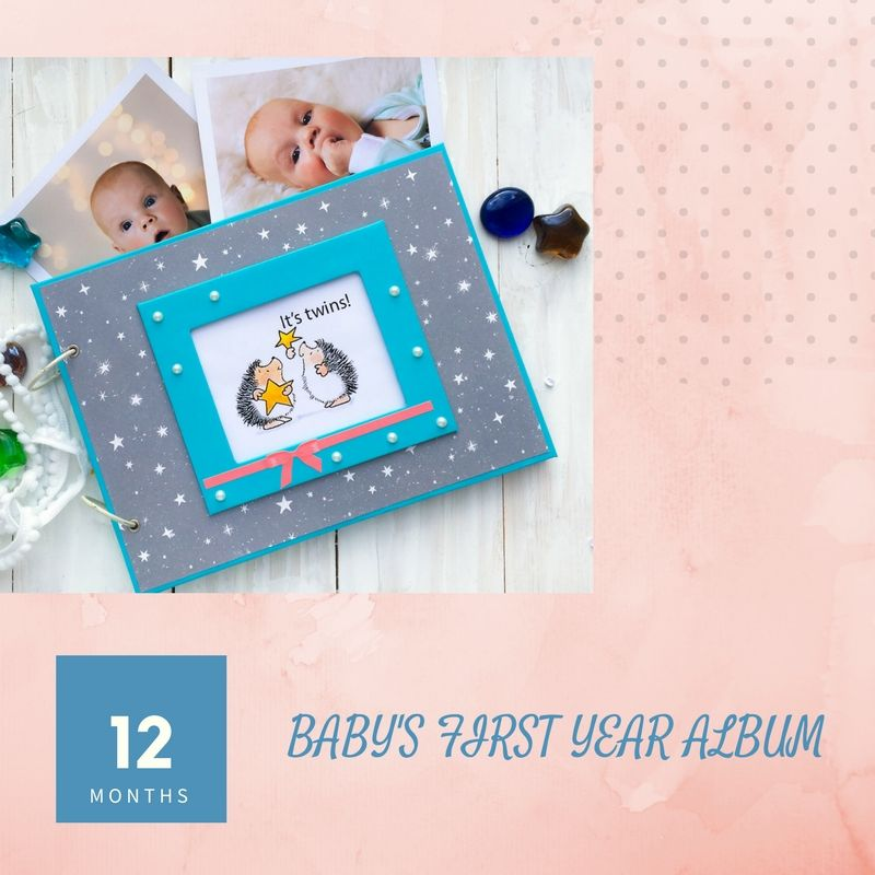 Printable Photo Album For TWINS Baby Record Book Kid's