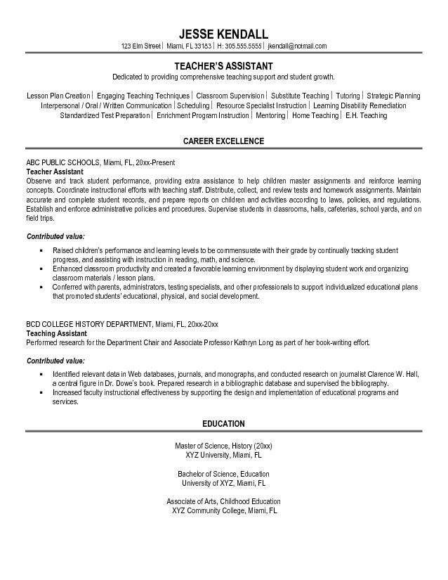 Sample Resume Objectives For Teachers Assistants