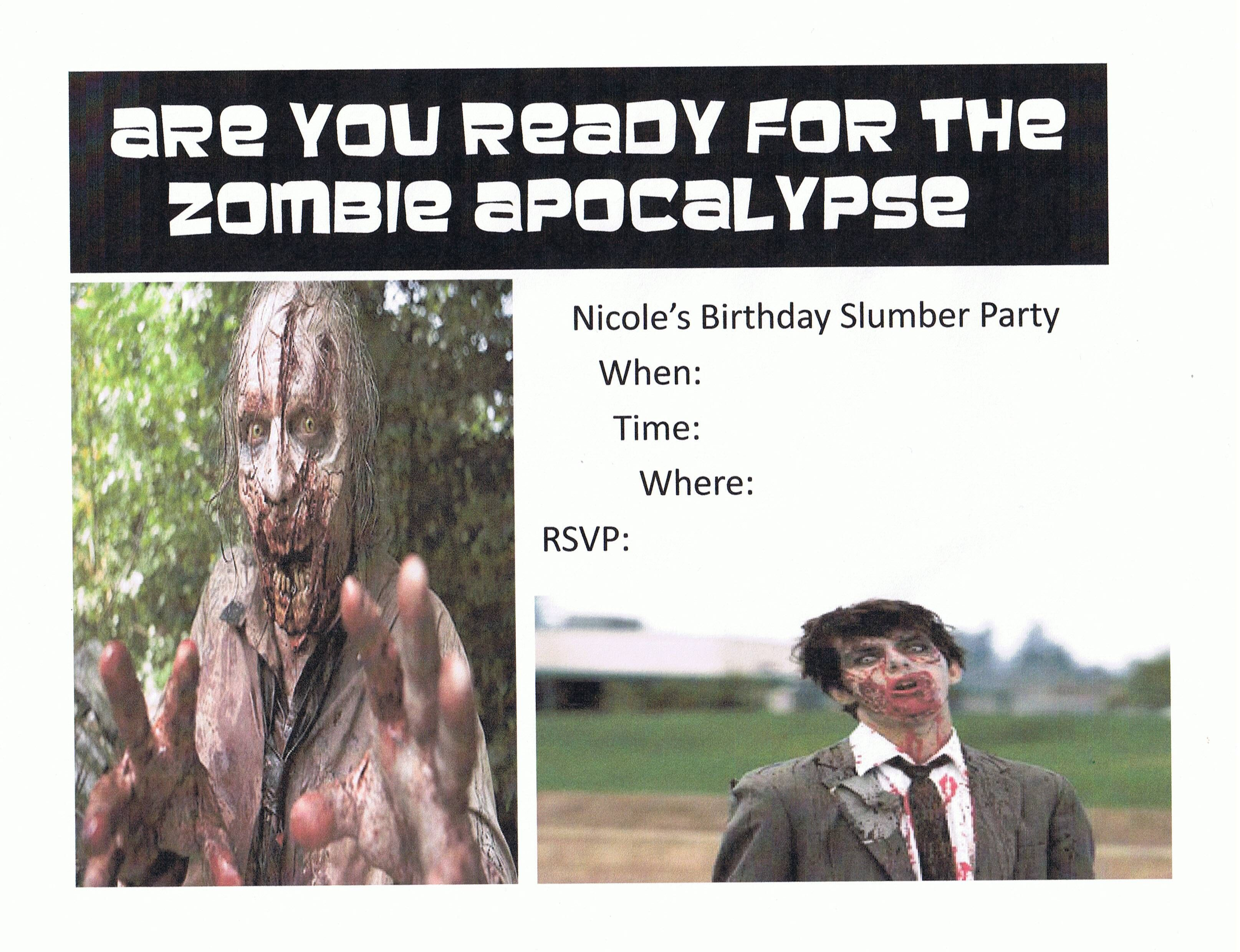 Zombie Apocalypse party invitation for 11th birthday #zombieapocalypseparty Zombie Apocalypse party invitation for 11th birthday #zombieapocalypseparty