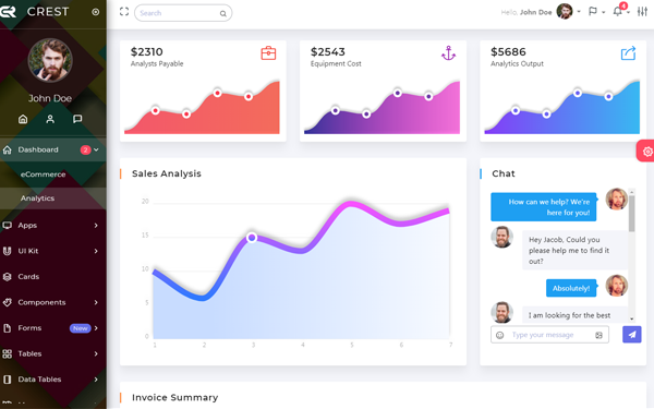 DOWNLOAD - Crest Angular 5 Bootstrap Admin Template | Bootstrap