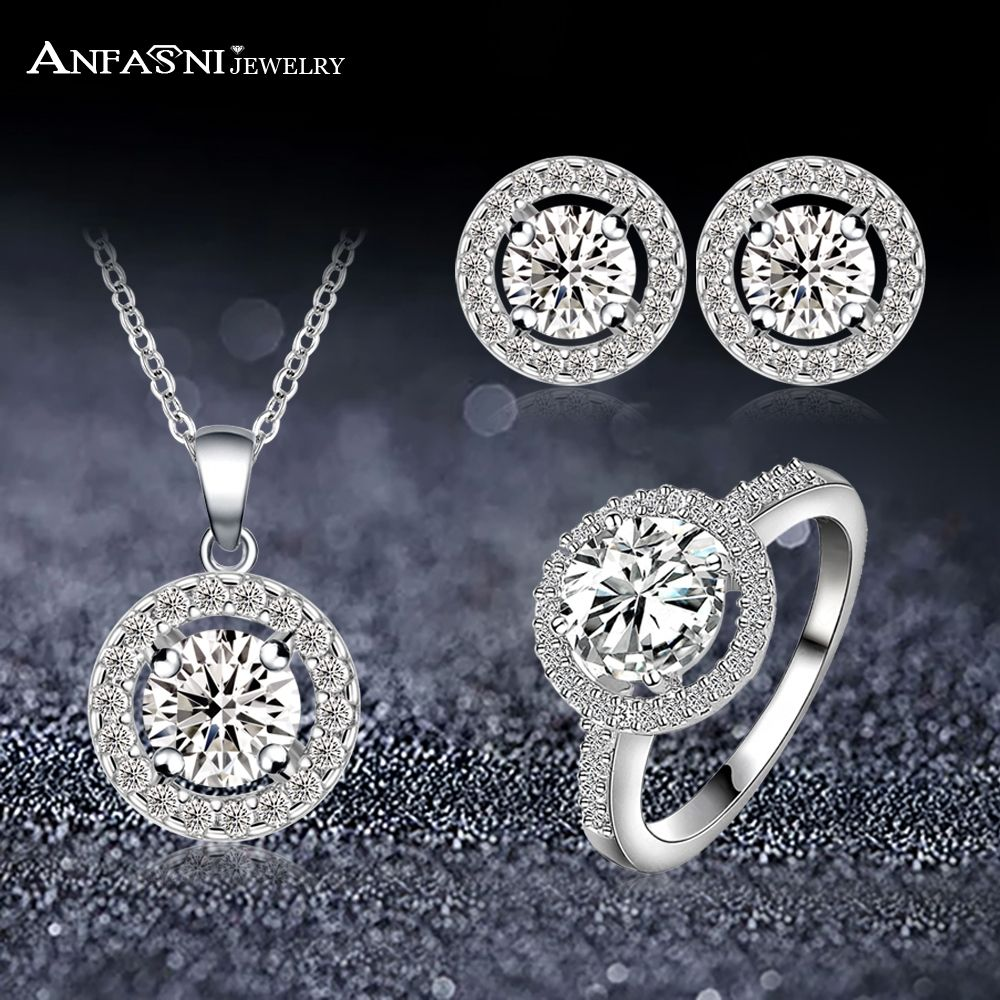 Luxury jewelry set round shape clear aaa cubic zircon necklace