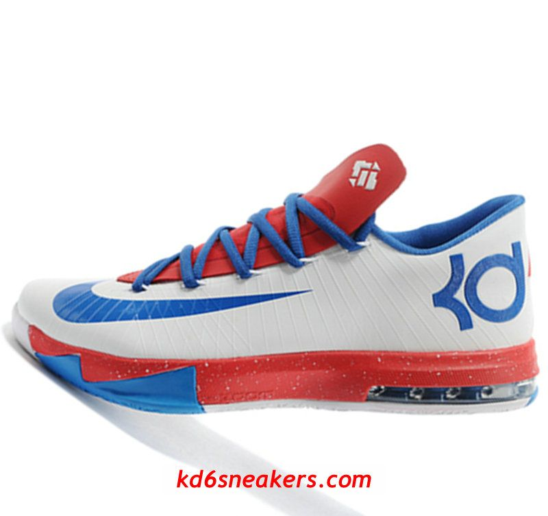buy online 55c1a 3a107 Nike KD VI 6 White blue red Kevin Durant Basketball shoes Kevin Durant  Basketball Shoes,