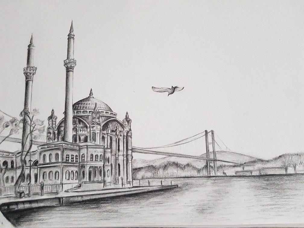 Istanbul Turkey Bosphorus Bridge Mosque Drawing Mimari Cizim Taslaklari Cizim Resim