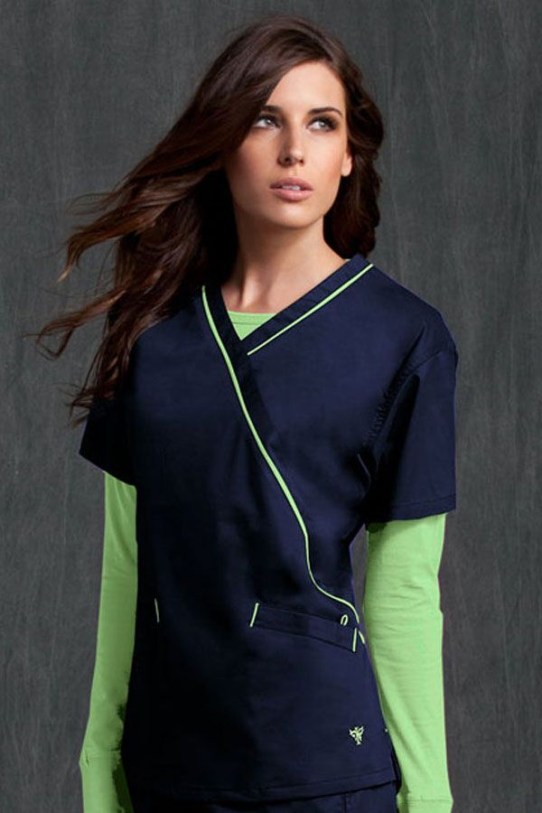 8424 Med Couture Crossover Top - Peaches Uniforms