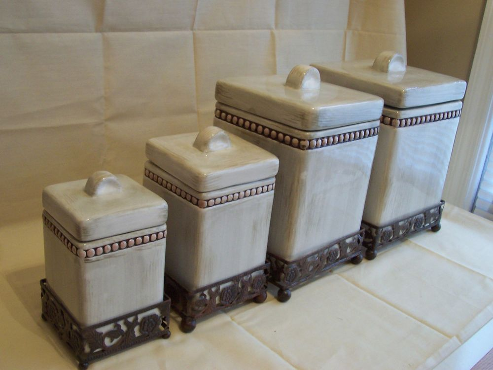 Canister Set Tuscan Old World Beige Cream Washed Bronze Ceramic Wrought Iron