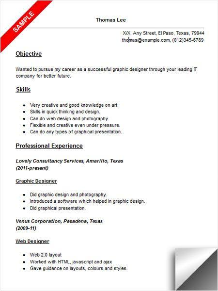 Graphic Designer Resume Sample Resume Examples Pinterest