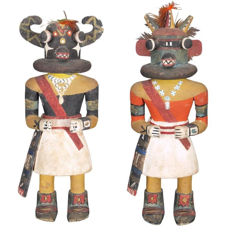 Rare Pair of Kachina Dolls by the Same Maker, Hopi 'Pueblo Indian' | From a unique collection of antique and modern tribal art at https://www.1stdibs.com/furniture/folk-art/tribal-art/