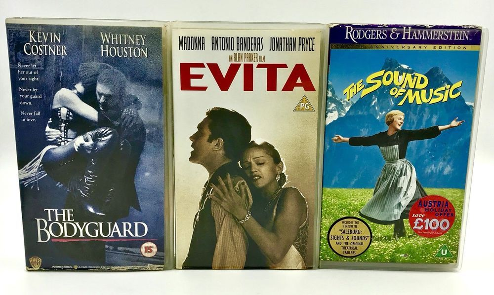 Vhs Video Tapes X3 The Sound Of Music Evita Amp The Bodygaurd Madonna Whitney Sound Of Music Video Tapes Evita