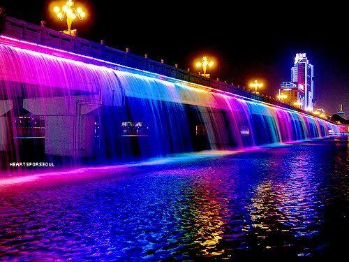 The Rainbow-colored Banpo Bridge, South Korea