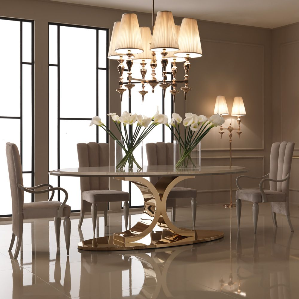 126 Custom Luxury Dining Room Interior Designs: Luxury 24 Carat Gold Plated Oval Designer Dining Table