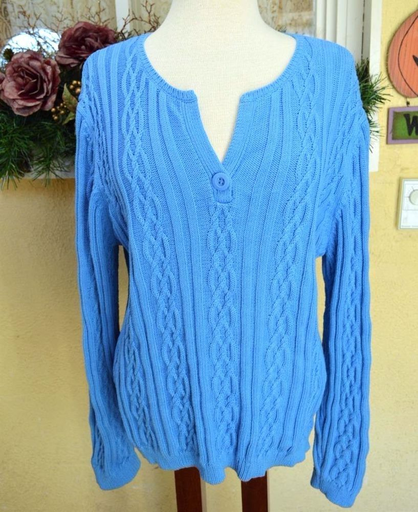North Crest Short V Neck Cable Knit Sweater XL Cute Soft Comfy ...