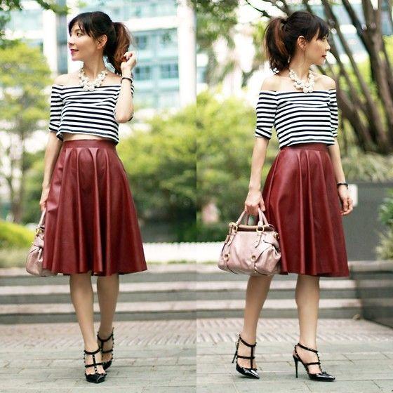 Sheinside Off Shoulder Black & White Stripes Crop Top, Sheinside ...