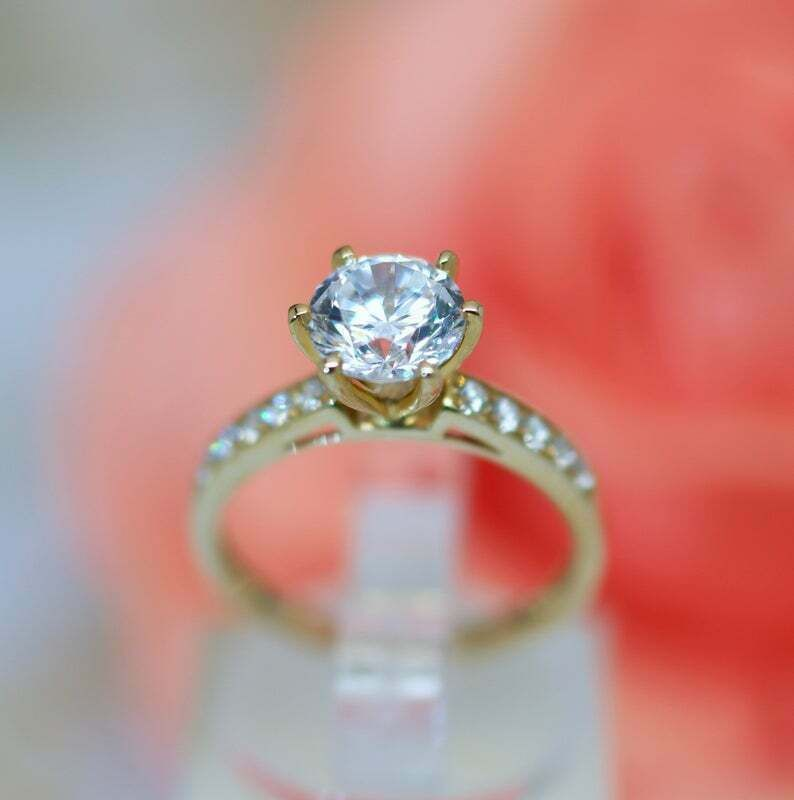 1.50ct CushionCut Solitaire Promise  Engagement Wedding Ring 14k Yellow Gold