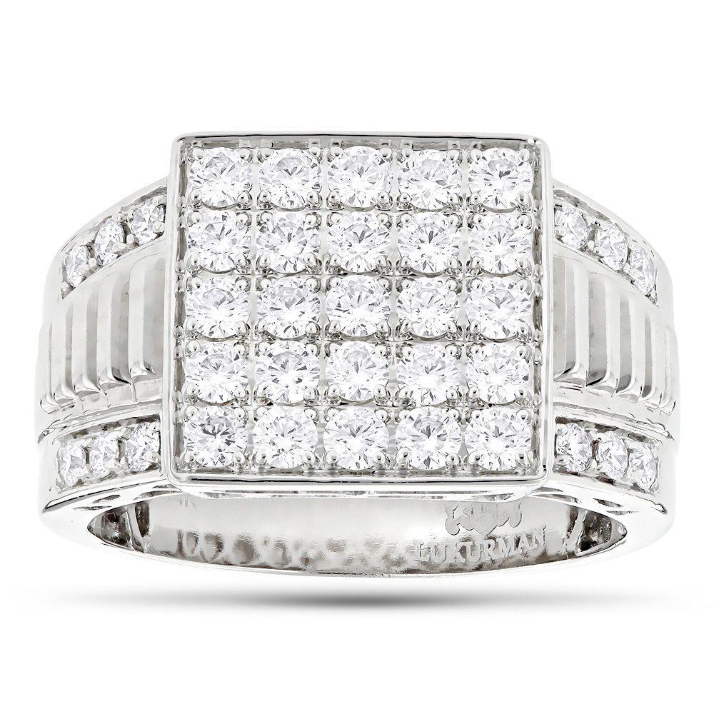 Designer Luxurman Rings 14k Yellow Rose White Gold Mens Diamond Ring 18ct