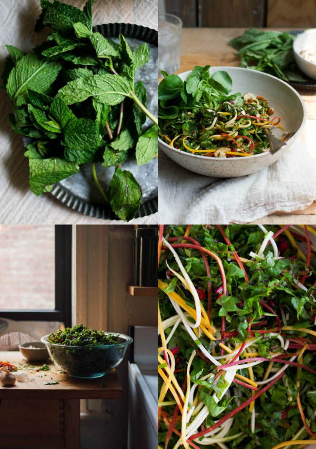 A Summer Coleslaw made with Rainbow Chard and Mixed Herbs #raw #vegan #salad