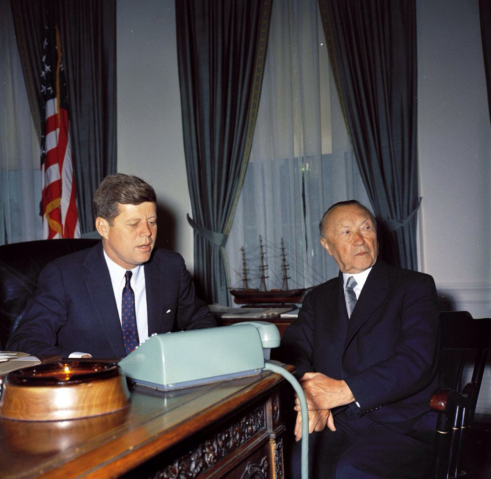 john f kennedy oval office. By Robert KNUDSEN. President John F. Kennedy Meets With Chancellor Of West Germany Konrad Adenauer In The Oval Office White House, Washington, DC F