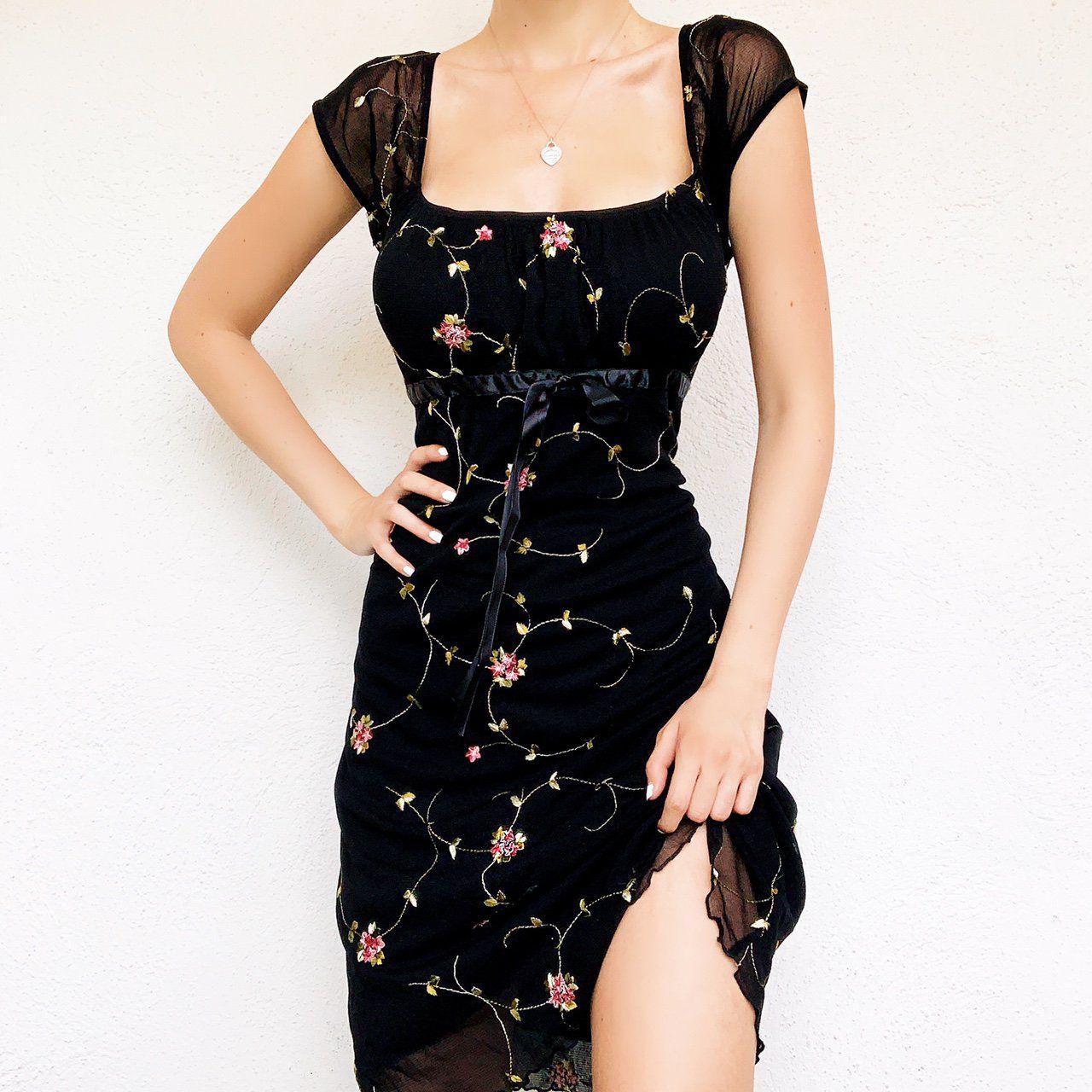From Carolannie On Depop 90s Vintage Dainty Floral Embroidered Dress Floral Dress Black Dresses Floral Dress [ 1280 x 1280 Pixel ]