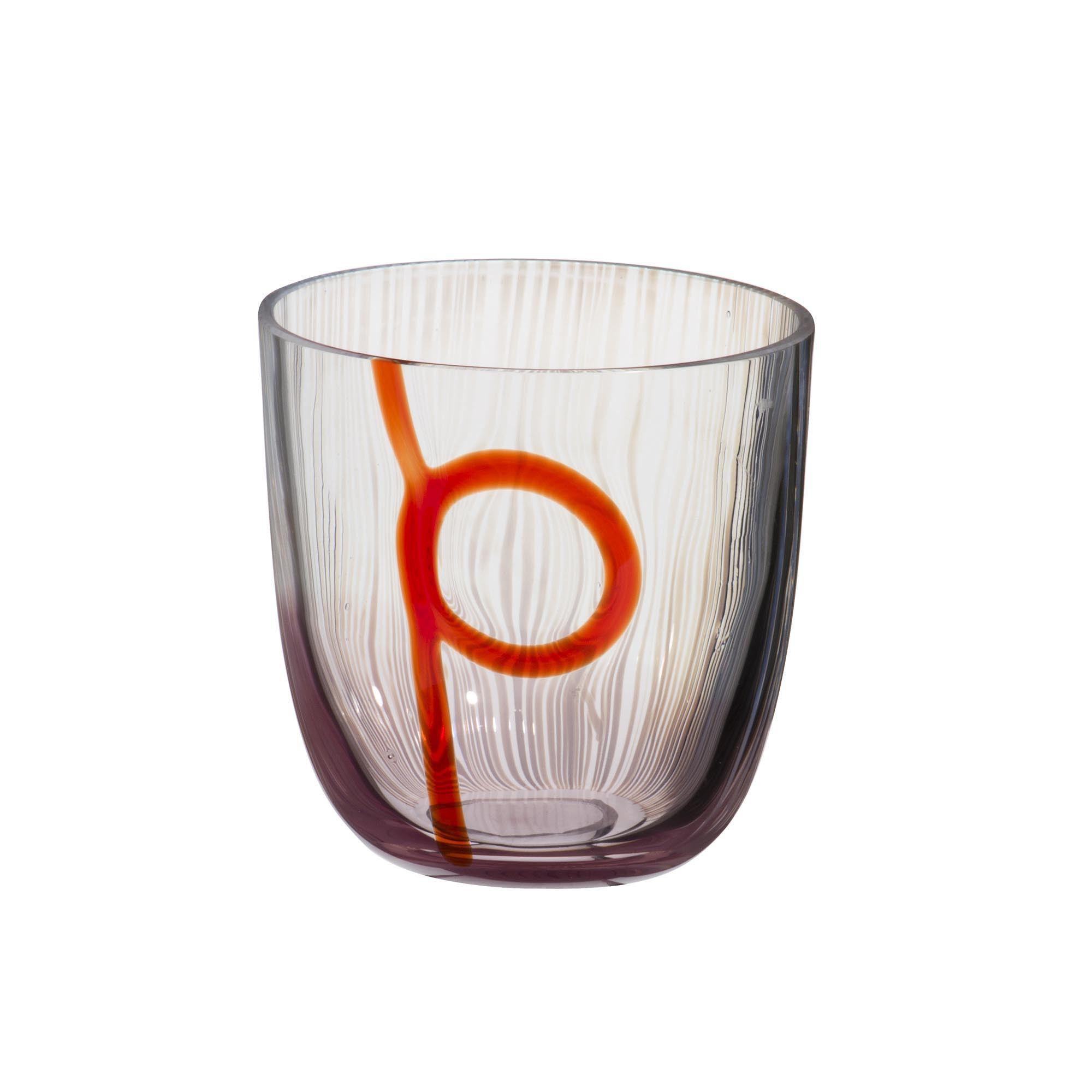"""Wasserglas der Serie """"I Diversi"""" mit rotem Muster-Dekor aus dem Glasatelier Carlo Moretti, Murano. Mundgeblasen und mit der Hand weiterverarbeitet.Bereichern Sie Ihren Esstisch mit Glasbläserkunst aus Murano. Muranoglas - Muranoglass - Murano Glas"""