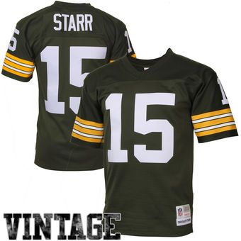 bart starr green bay packers mitchell ness retired player vintage replica jersey green nfl pinterest