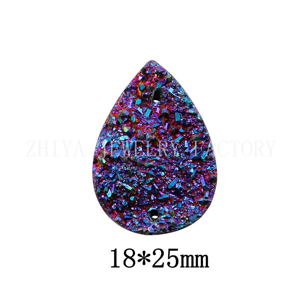 18*25mm Teardrop 20pcs/lot AB Resin Peacock Flatback Rhinestone Wedding decoration with 2 Hole