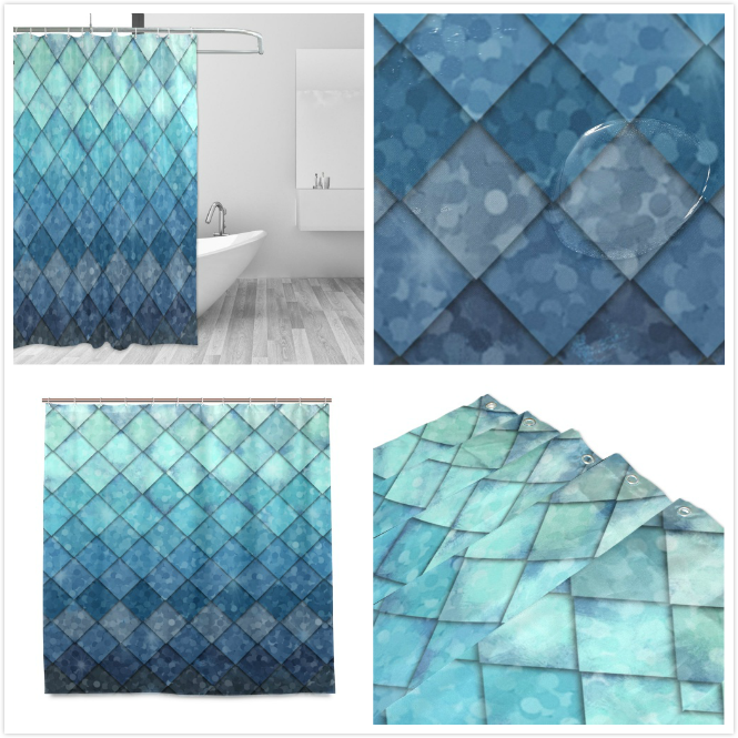 Shower Curtain Backdrop Royal Blue Mermaid Scales Marble Fish
