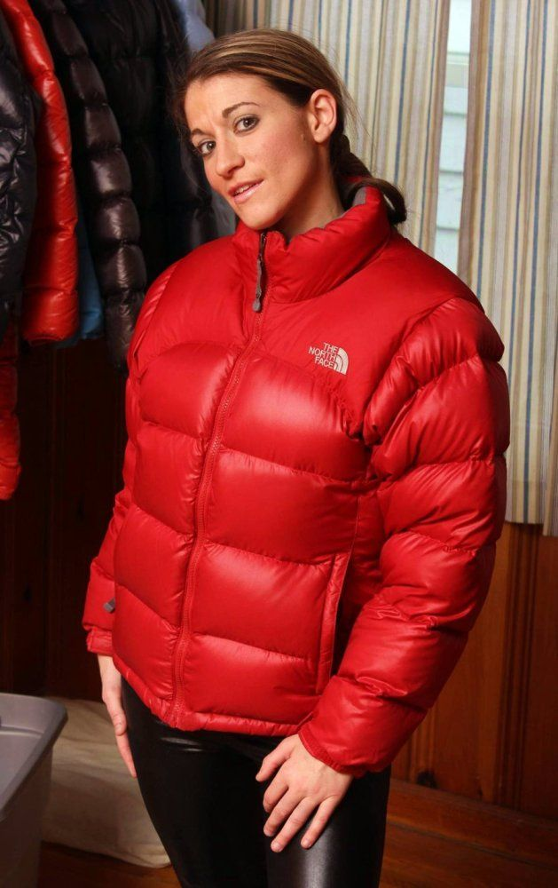 Red The North Face Nuptse down jacket