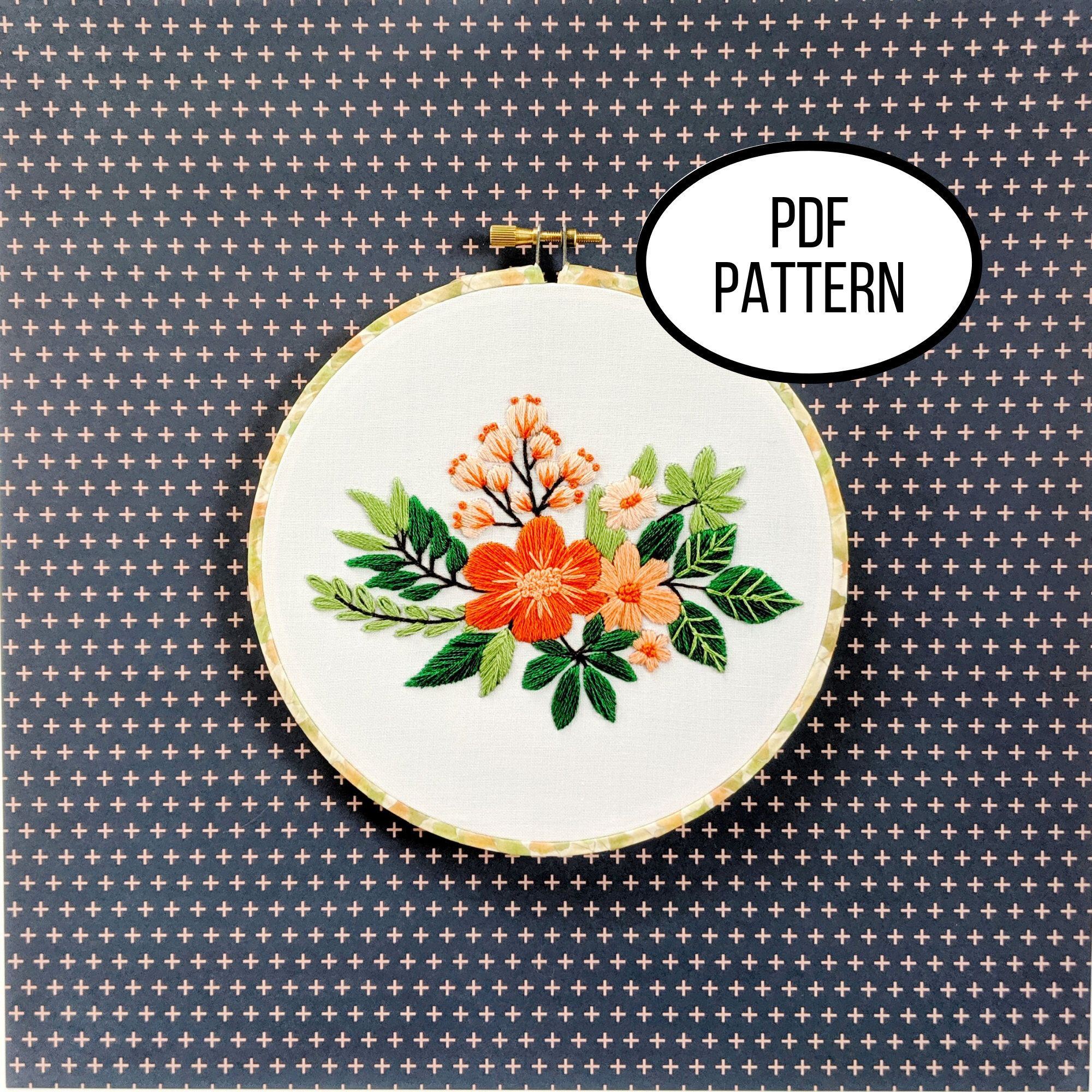Hand embroidery pdf pattern tropical florals design